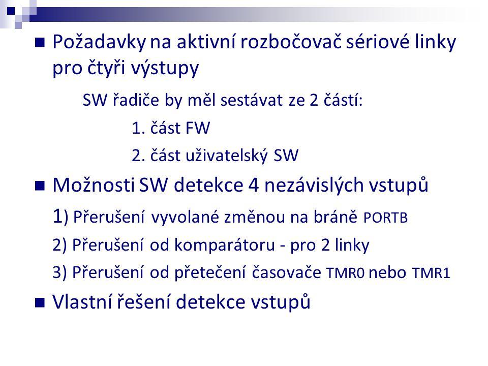  Požadavky na aktivní rozbočovač sériové linky pro čtyři výstupy SW řadiče by měl sestávat ze 2 částí: 1. část FW 2. část uživatelský SW  Možnosti S