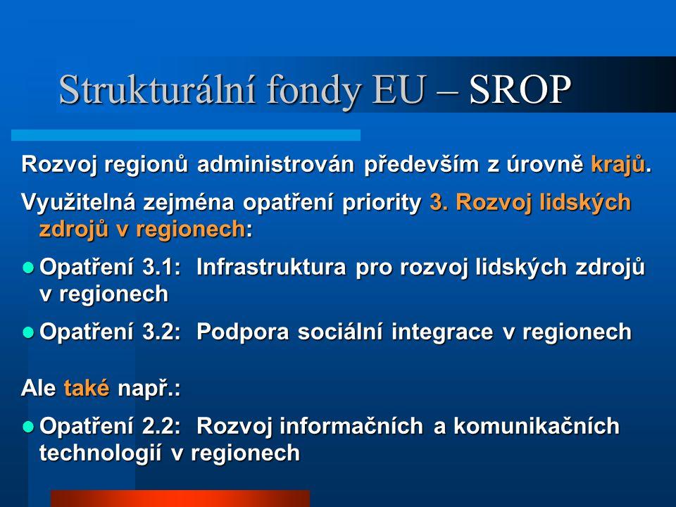 Strukturální fondy EU – SROP Rozvoj regionů administrován především z úrovně krajů.