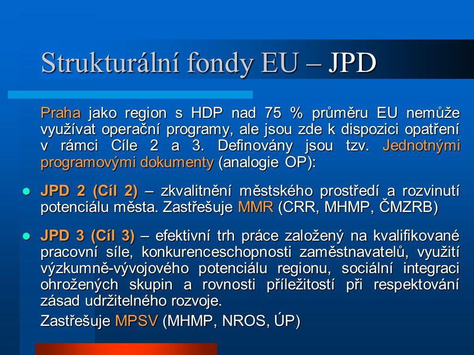 Strukturální fondy EU – JPD Praha jako region s HDP nad 75 % průměru EU nemůže využívat operační programy, ale jsou zde k dispozici opatření v rámci Cíle 2 a 3.