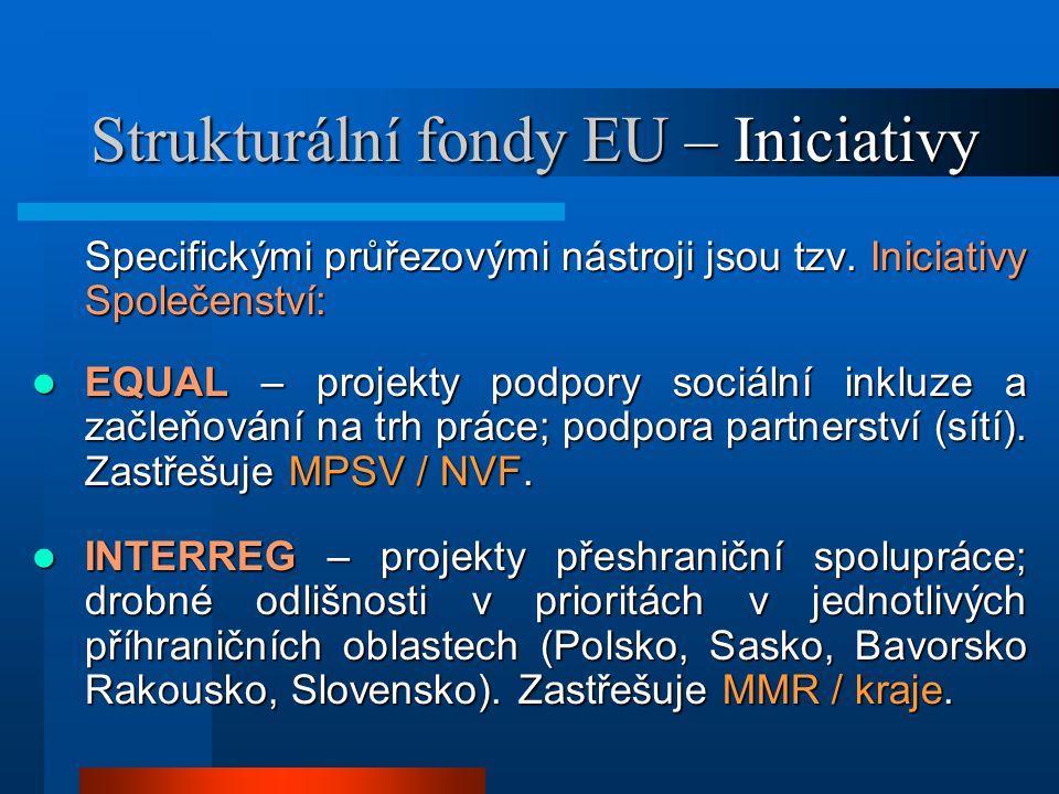 Strukturální fondy EU – Iniciativy Specifickými průřezovými nástroji jsou tzv.