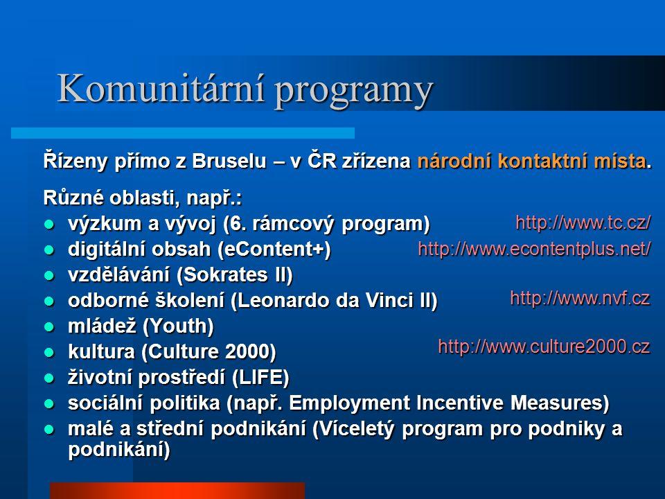 Komunitární programy Řízeny přímo z Bruselu – v ČR zřízena národní kontaktní místa.