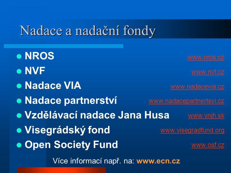 Nadace a nadační fondy  NROS  NVF  Nadace VIA  Nadace partnerství  Vzdělávací nadace Jana Husa  Visegrádský fond  Open Society Fund www.nros.cz www.nvf.cz www.nadacevia.cz www.nadacepartnertsvi.cz www.vnjh.sk www.visegradfund.org www.osf.cz Více informací např.