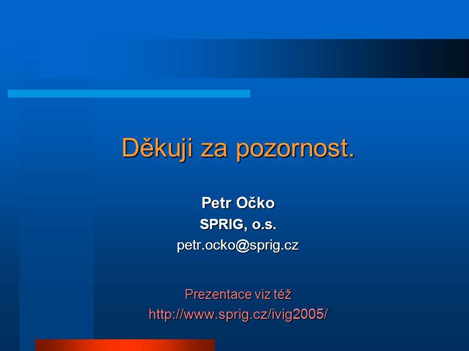 Děkuji za pozornost. Petr Očko SPRIG, o.s.