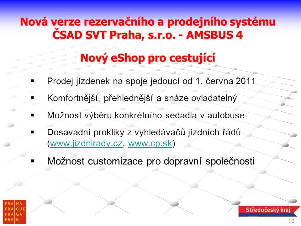  Prodej jízdenek na spoje jedoucí od 1. června 2011  Komfortnější, přehlednější a snáze ovladatelný  Možnost výběru konkrétního sedadla v autobuse