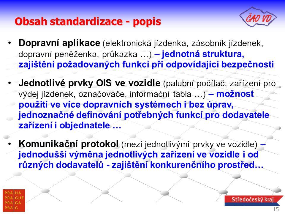 Obsah standardizace - popis •Dopravní aplikace (elektronická jízdenka, zásobník jízdenek, dopravní peněženka, průkazka …) – jednotná struktura, zajišt