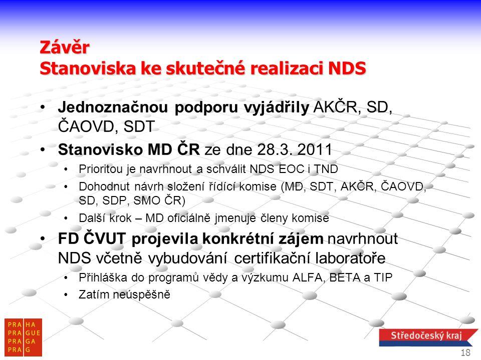 •Jednoznačnou podporu vyjádřily AKČR, SD, ČAOVD, SDT •Stanovisko MD ČR ze dne 28.3. 2011 •Prioritou je navrhnout a schválit NDS EOC i TND •Dohodnut ná