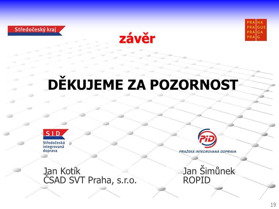 závěr 19 DĚKUJEME ZA POZORNOST Jan KotíkJan Šimůnek ČSAD SVT Praha, s.r.o.ROPID