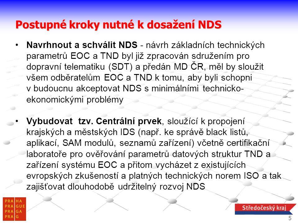 •Navrhnout a schválit NDS - návrh základních technických parametrů EOC a TND byl již zpracován sdružením pro dopravní telematiku (SDT) a předán MD ČR,