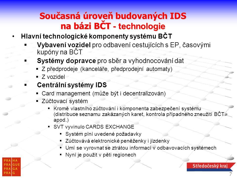 •Hlavní technologické komponenty systému BČT  Vybavení vozidel pro odbavení cestujících s EP, časovými kupóny na BČT  Systémy dopravce pro sběr a vy