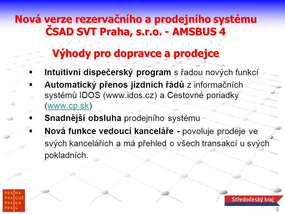  Intuitivní dispečerský program s řadou nových funkcí  Automatický přenos jízdních řádů z informačních systémů IDOS (www.idos.cz) a Cestovné poriadk