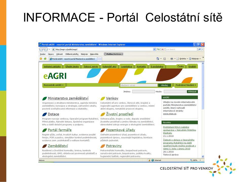 INFORMACE - Portál Celostátní sítě