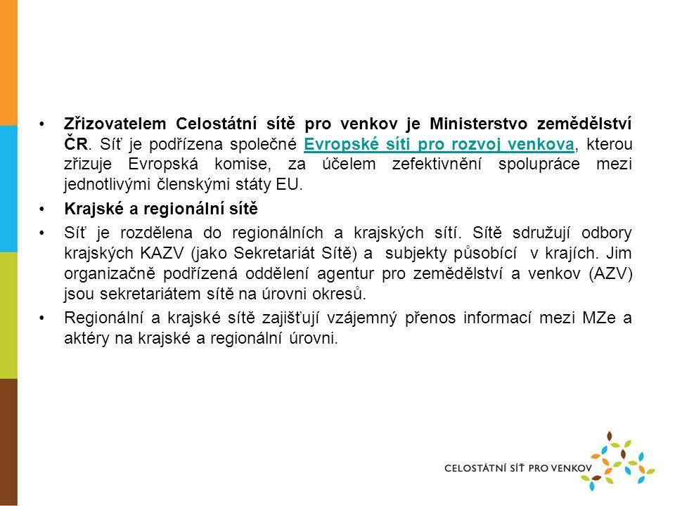 •Zřizovatelem Celostátní sítě pro venkov je Ministerstvo zemědělství ČR.