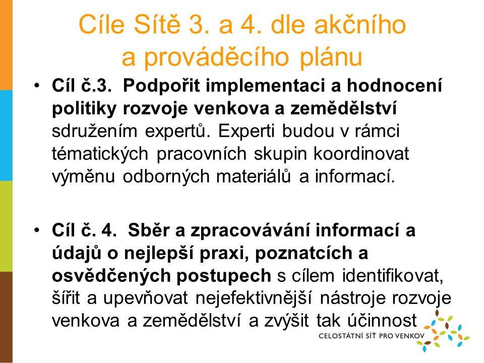Cíle Sítě 3. a 4. dle akčního a prováděcího plánu •Cíl č.3.