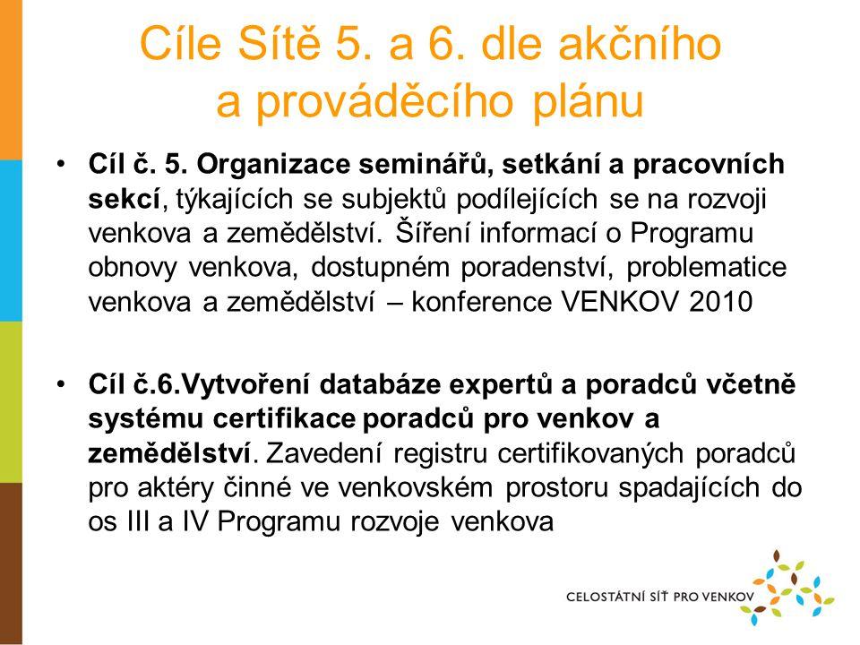 Cíle Sítě 5. a 6. dle akčního a prováděcího plánu •Cíl č.