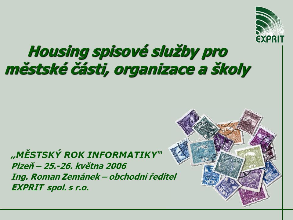 """Housing spisové služby pro městské části, organizace a školy """"MĚSTSKÝ ROK INFORMATIKY Plzeň – 25.-26."""
