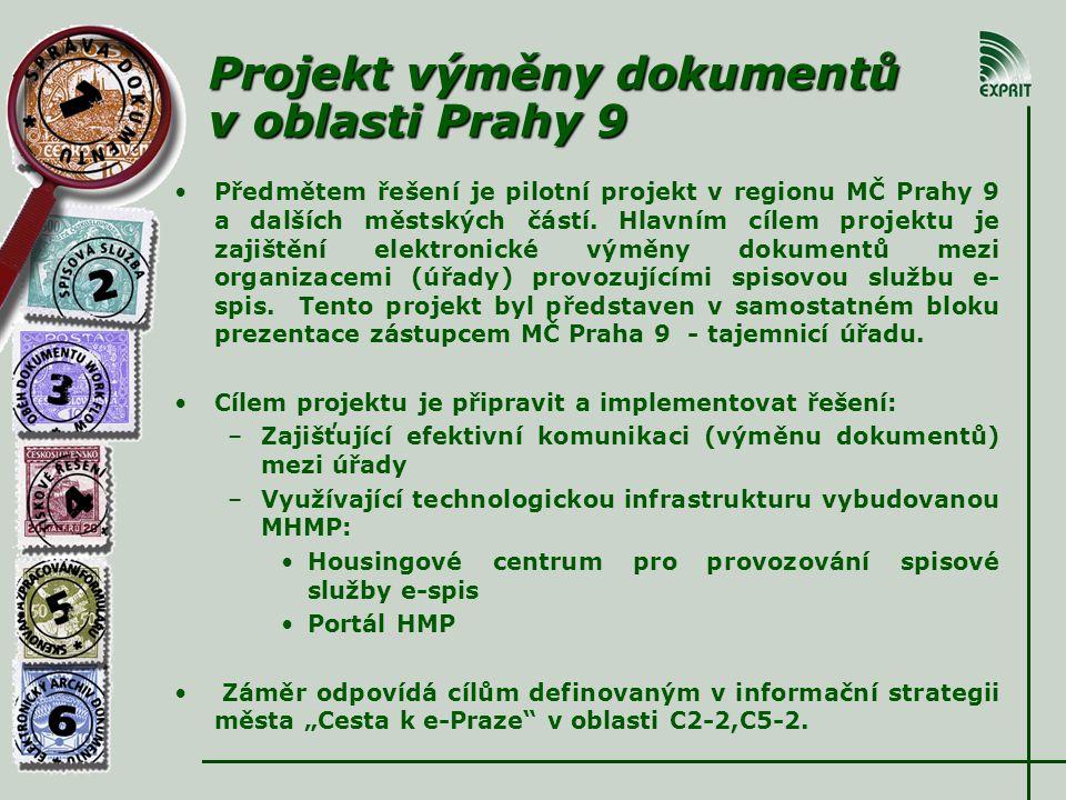Projekt výměny dokumentů v oblasti Prahy 9 • •Předmětem řešení je pilotní projekt v regionu MČ Prahy 9 a dalších městských částí.