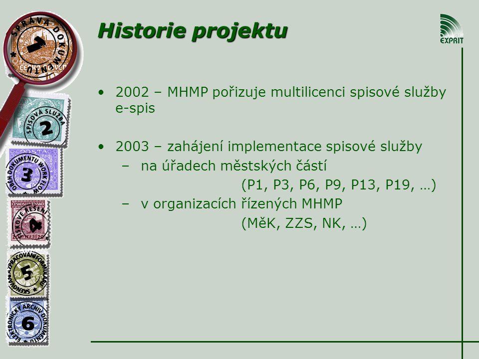Historie projektu •2002 – MHMP pořizuje multilicenci spisové služby e-spis •2003 – zahájení implementace spisové služby – na úřadech městských částí (P1, P3, P6, P9, P13, P19, …) – v organizacích řízených MHMP (MěK, ZZS, NK, …)