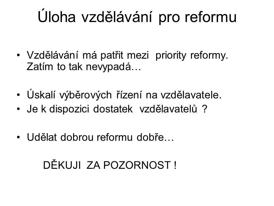 Úloha vzdělávání pro reformu •Vzdělávání má patřit mezi priority reformy. Zatím to tak nevypadá… •Úskalí výběrových řízení na vzdělavatele. •Je k disp