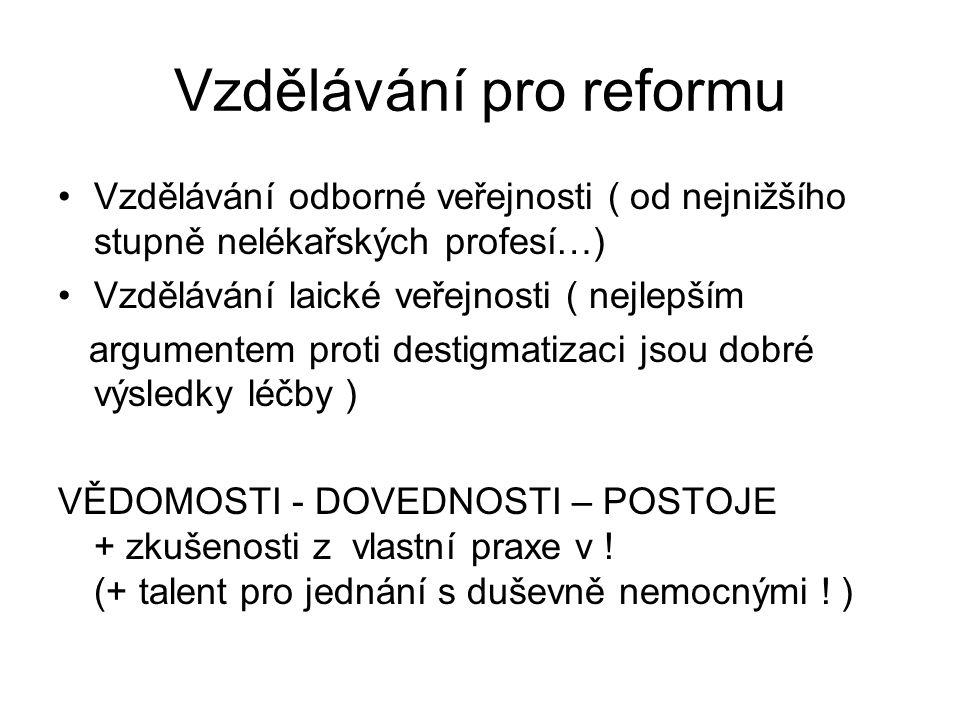 Vzdělávání pro reformu •Vzdělávání odborné veřejnosti ( od nejnižšího stupně nelékařských profesí…) •Vzdělávání laické veřejnosti ( nejlepším argument