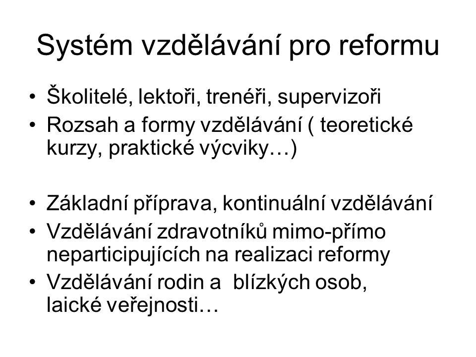 Systém vzdělávání pro reformu •Školitelé, lektoři, trenéři, supervizoři •Rozsah a formy vzdělávání ( teoretické kurzy, praktické výcviky…) •Základní p