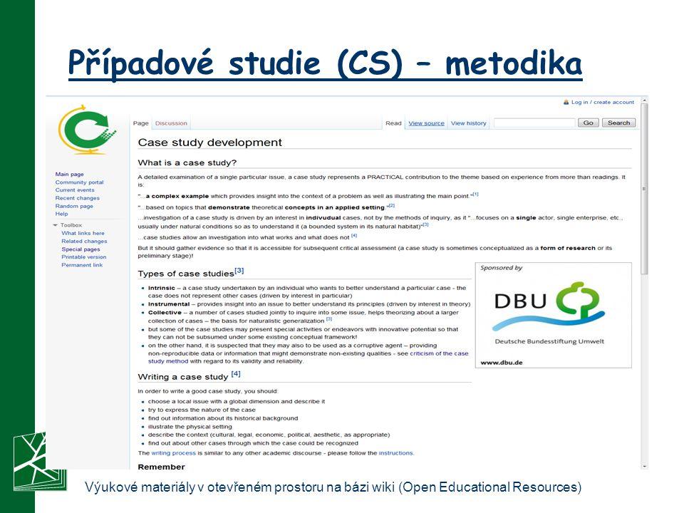 Případové studie (CS) – metodika Výukové materiály v otevřeném prostoru na bázi wiki (Open Educational Resources)