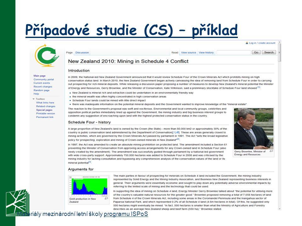 Případové studie (CS) – příklad Materiály mezinárodní letní školy programu ISPoSprogramu ISPoS