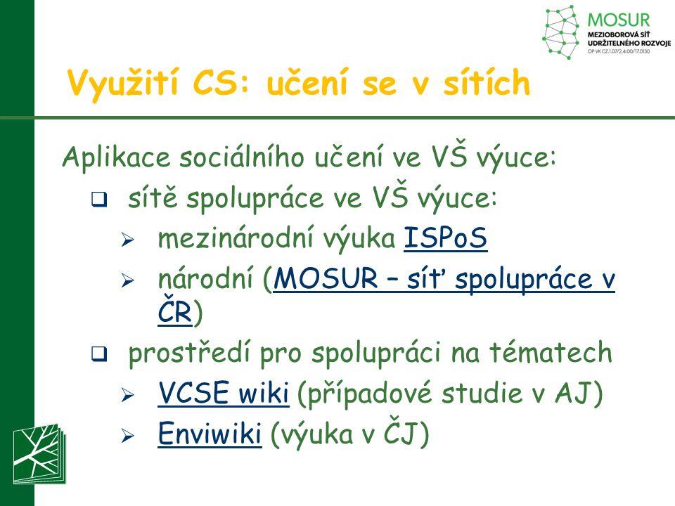 Využití CS: učení se v sítích Aplikace sociálního učení ve VŠ výuce:  sítě spolupráce ve VŠ výuce:  mezinárodní výuka ISPoSISPoS  národní (MOSUR –