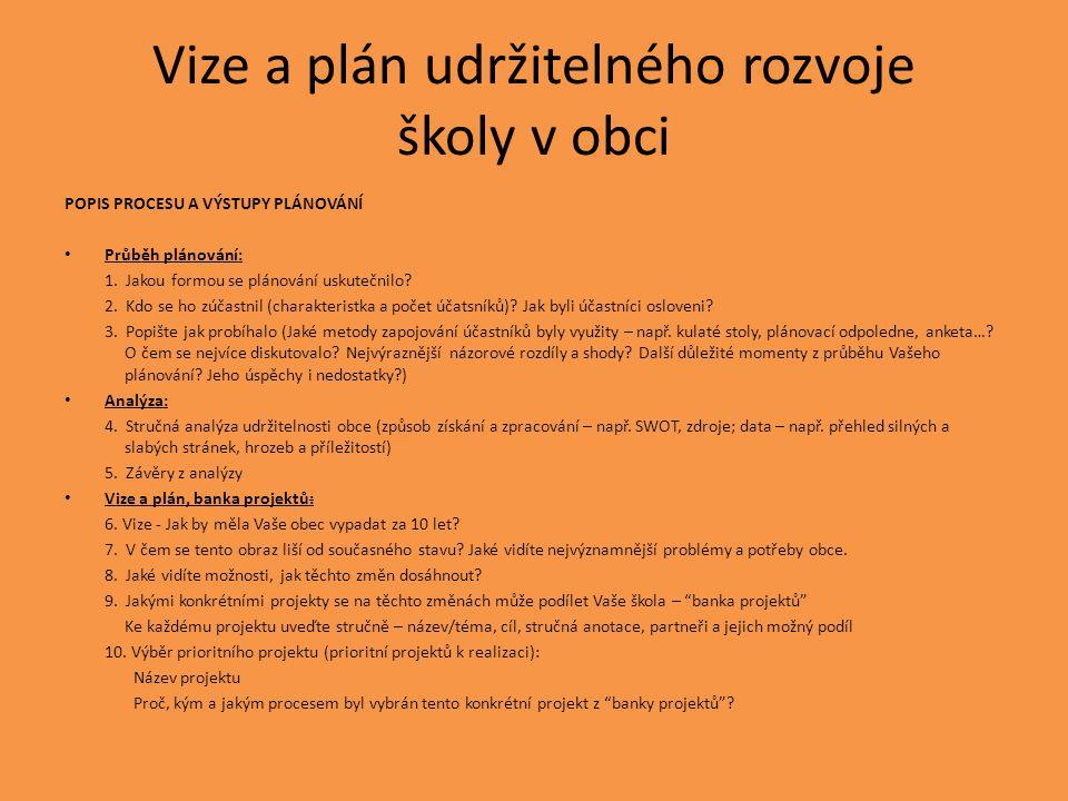 Vize a plán udržitelného rozvoje školy v obci POPIS PROCESU A VÝSTUPY PLÁNOVÁNÍ • Průběh plánování: 1. Jakou formou se plánování uskutečnilo? 2. Kdo s