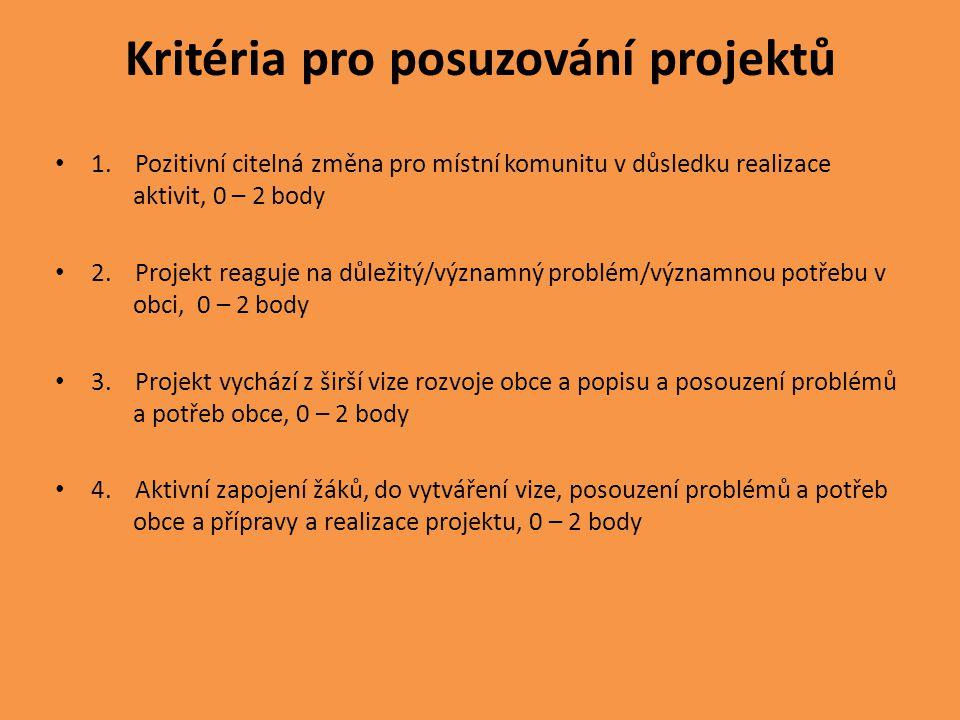 Kritéria pro posuzování projektů • 1.