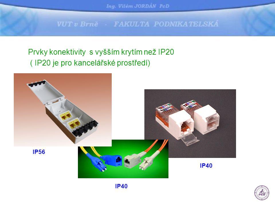 Prvky konektivity s vyšším krytím než IP20 ( IP20 je pro kancelářské prostředí) IP40 IP56