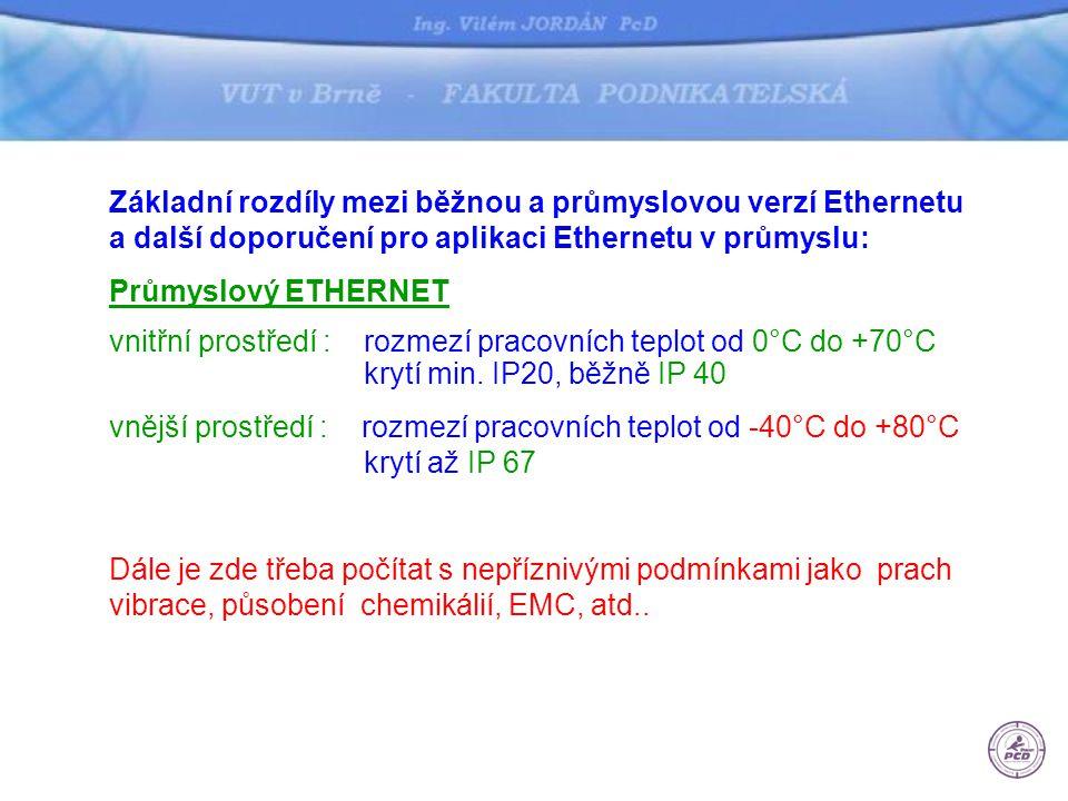 Základní rozdíly mezi běžnou a průmyslovou verzí Ethernetu a další doporučení pro aplikaci Ethernetu v průmyslu: Průmyslový ETHERNET vnitřní prostředí : rozmezí pracovních teplot od 0°C do +70°C krytí min.