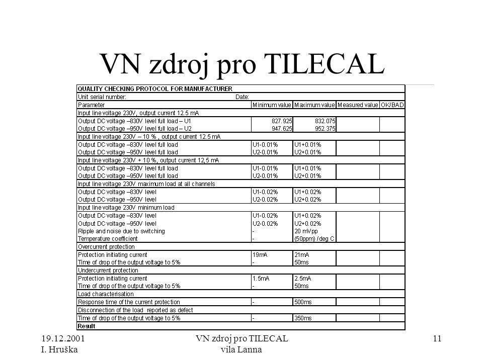 19.12.2001 I. Hruška VN zdroj pro TILECAL vila Lanna 11 VN zdroj pro TILECAL