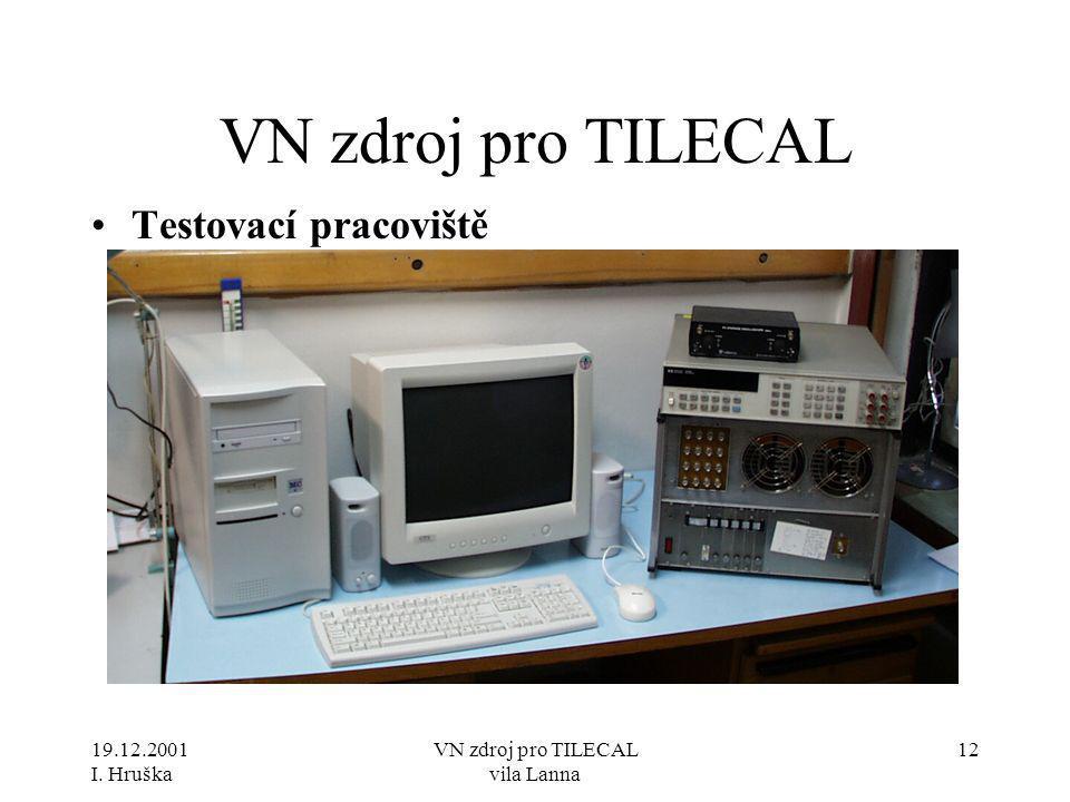 19.12.2001 I. Hruška VN zdroj pro TILECAL vila Lanna 12 VN zdroj pro TILECAL •Testovací pracoviště