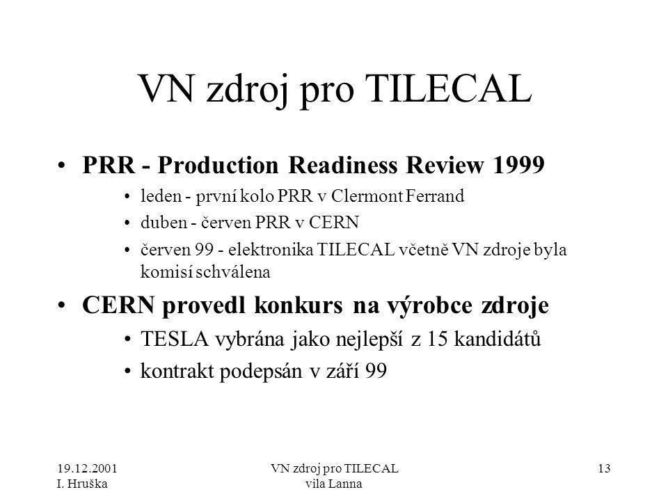 19.12.2001 I. Hruška VN zdroj pro TILECAL vila Lanna 13 VN zdroj pro TILECAL •PRR - Production Readiness Review 1999 •leden - první kolo PRR v Clermon