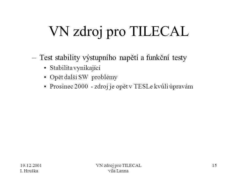 19.12.2001 I. Hruška VN zdroj pro TILECAL vila Lanna 15 VN zdroj pro TILECAL –Test stability výstupního napětí a funkční testy •Stabilita vynikající •
