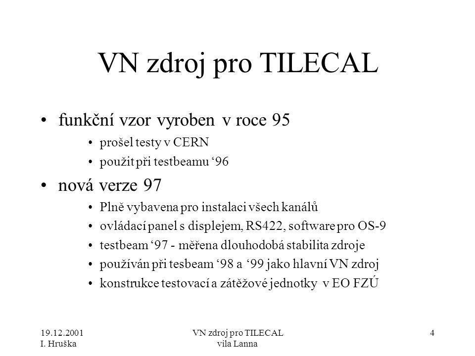19.12.2001 I. Hruška VN zdroj pro TILECAL vila Lanna 4 VN zdroj pro TILECAL •funkční vzor vyroben v roce 95 •prošel testy v CERN •použit při testbeamu