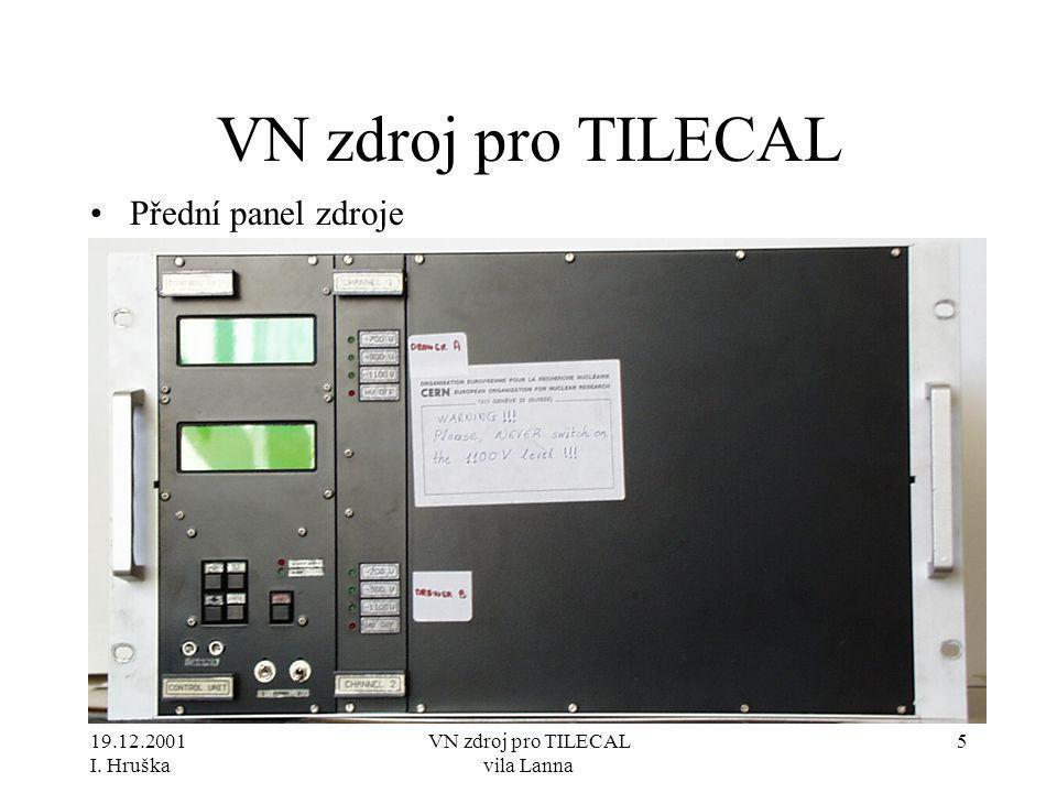 19.12.2001 I. Hruška VN zdroj pro TILECAL vila Lanna 5 VN zdroj pro TILECAL •Přední panel zdroje