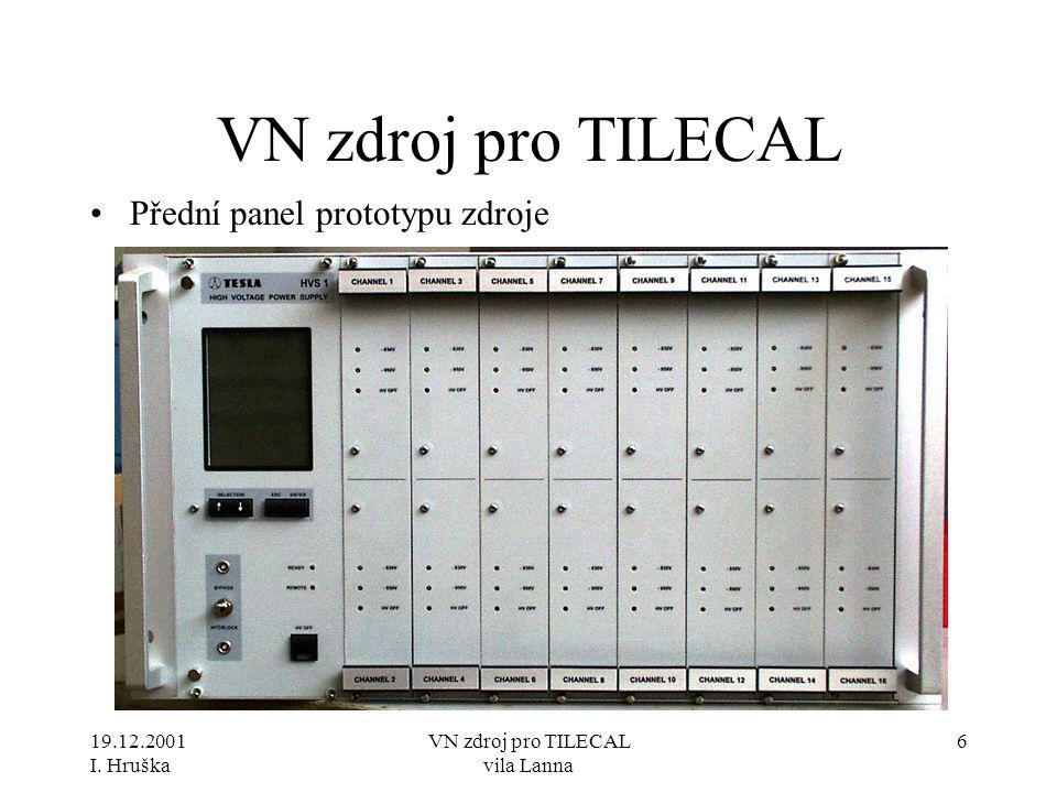 19.12.2001 I. Hruška VN zdroj pro TILECAL vila Lanna 7 VN zdroj pro TILECAL •Zadní panel zdroje