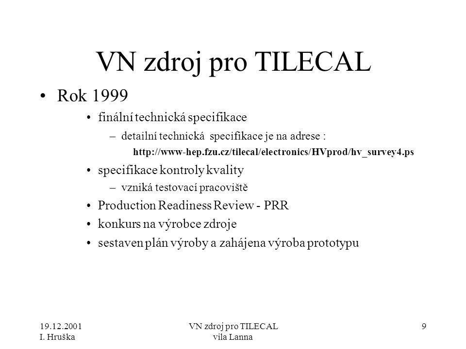 19.12.2001 I. Hruška VN zdroj pro TILECAL vila Lanna 9 VN zdroj pro TILECAL •Rok 1999 •finální technická specifikace –detailní technická specifikace j