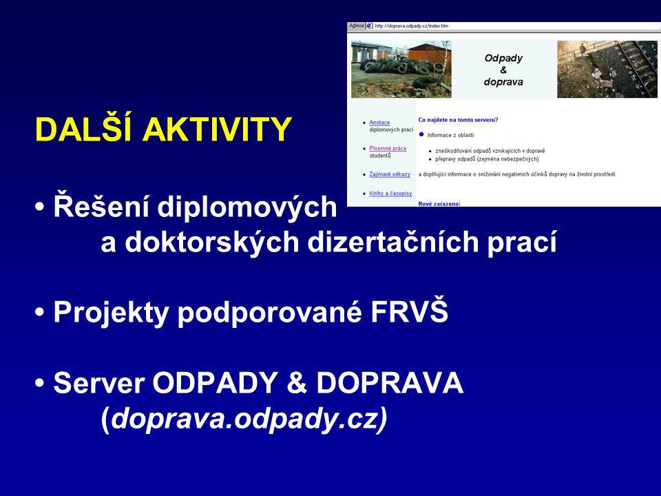 DALŠÍ AKTIVITY • Řešení diplomových a doktorských dizertačních prací • Projekty podporované FRVŠ • Server ODPADY & DOPRAVA (doprava.odpady.cz)