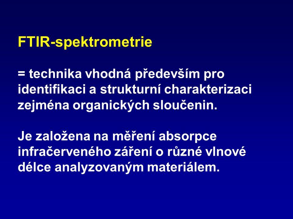 FTIR-spektrometrie = technika vhodná především pro identifikaci a strukturní charakterizaci zejména organických sloučenin.