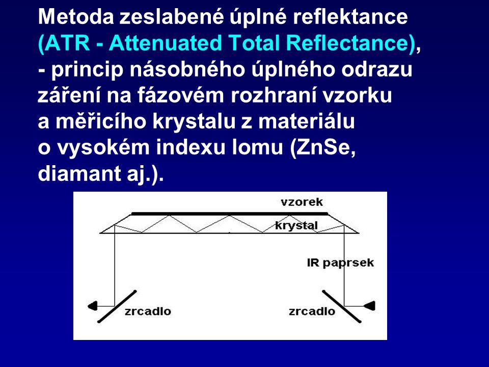 Metoda zeslabené úplné reflektance (ATR - Attenuated Total Reflectance), - princip násobného úplného odrazu záření na fázovém rozhraní vzorku a měřicího krystalu z materiálu o vysokém indexu lomu (ZnSe, diamant aj.).