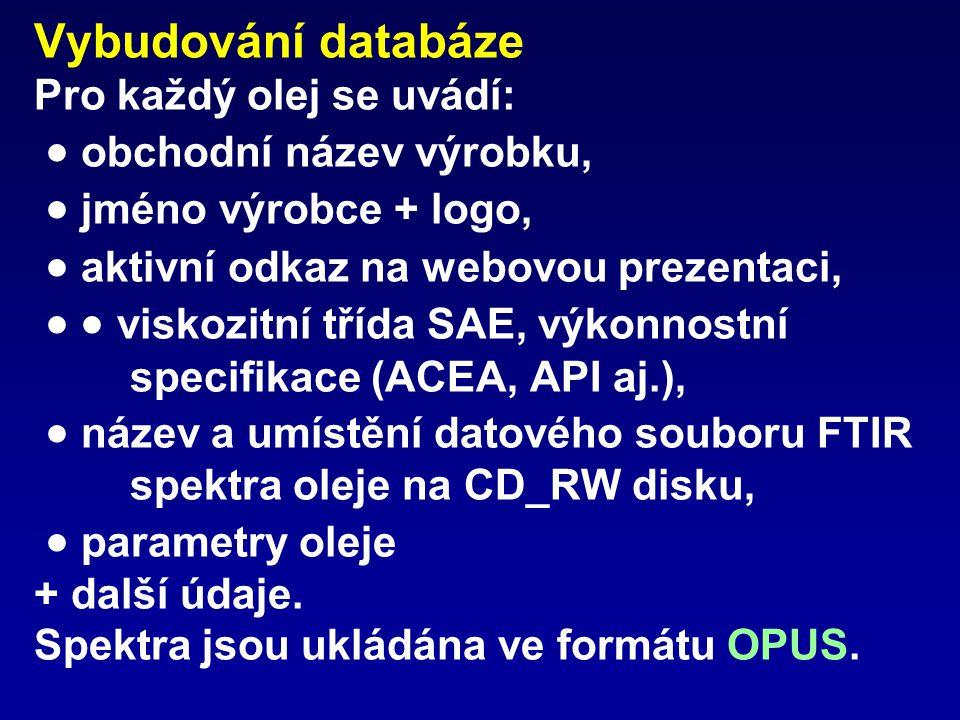 Vybudování databáze Pro každý olej se uvádí:  obchodní název výrobku,  jméno výrobce + logo,  aktivní odkaz na webovou prezentaci,   viskozitní třída SAE, výkonnostní specifikace (ACEA, API aj.),  název a umístění datového souboru FTIR spektra oleje na CD_RW disku,  parametry oleje + další údaje.