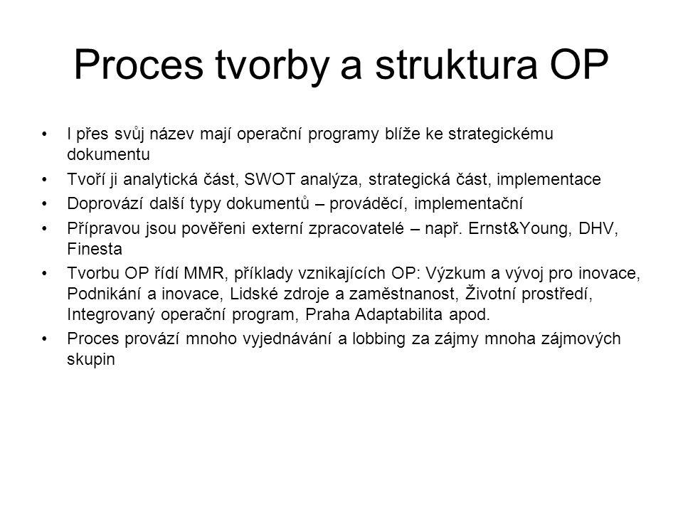 Proces tvorby a struktura OP •I přes svůj název mají operační programy blíže ke strategickému dokumentu •Tvoří ji analytická část, SWOT analýza, strategická část, implementace •Doprovází další typy dokumentů – prováděcí, implementační •Přípravou jsou pověřeni externí zpracovatelé – např.