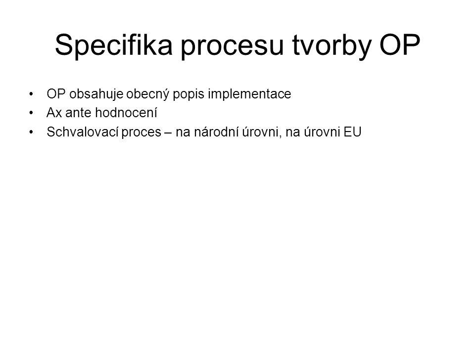 Specifika procesu tvorby OP •OP obsahuje obecný popis implementace •Ax ante hodnocení •Schvalovací proces – na národní úrovni, na úrovni EU