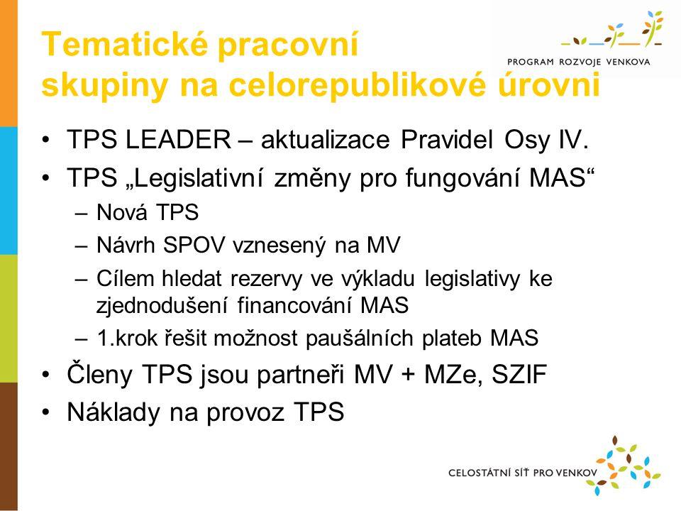 Tematické pracovní skupiny na celorepublikové úrovni •TPS LEADER – aktualizace Pravidel Osy IV.