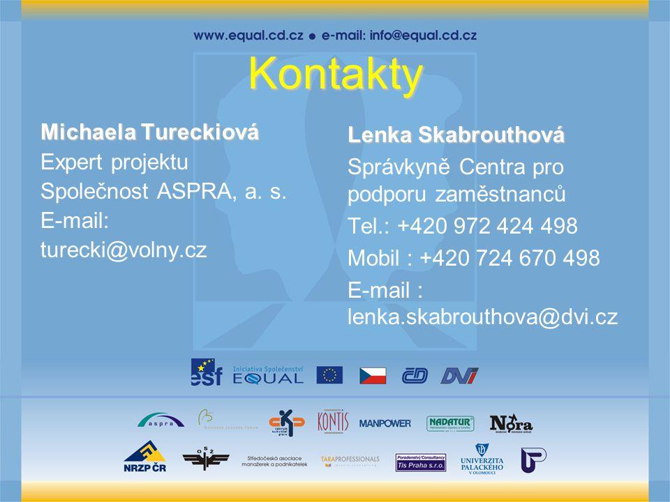 Kontakty Michaela Tureckiová Expert projektu Společnost ASPRA, a.