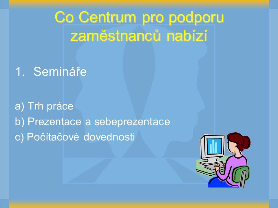 Co Centrum pro podporu zaměstnanců nabízí 1.Semináře a) Trh práce b) Prezentace a sebeprezentace c) Počítačové dovednosti