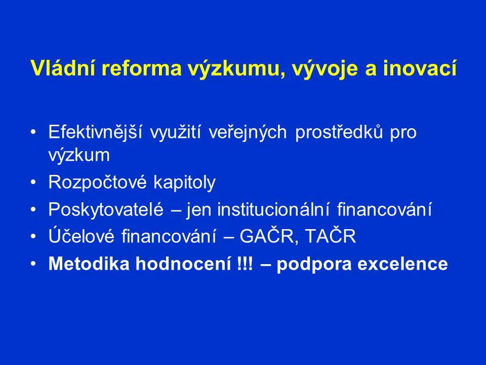 Vládní reforma výzkumu, vývoje a inovací •Efektivnější využití veřejných prostředků pro výzkum •Rozpočtové kapitoly •Poskytovatelé – jen institucionální financování •Účelové financování – GAČR, TAČR •Metodika hodnocení !!.