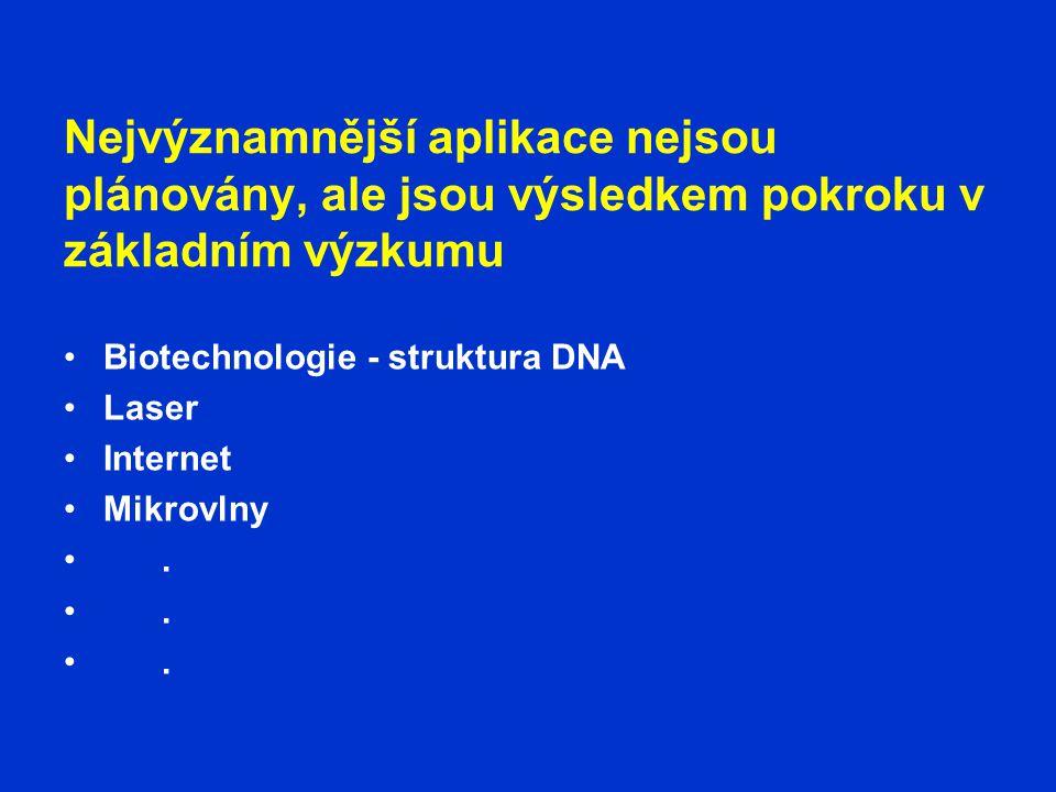 Nejvýznamnější aplikace nejsou plánovány, ale jsou výsledkem pokroku v základním výzkumu •Biotechnologie - struktura DNA •Laser •Internet •Mikrovlny •.